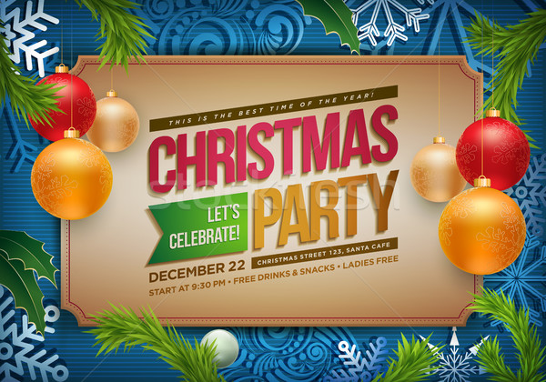 Stock photo: Christmas Party Poster