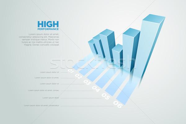Zdjęcia stock: 3D · wykres · słupkowy · wektora · wykres · ilustracja · podpisania