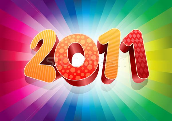Kleurrijk nieuwjaar 2011 3D 2010 vector Stockfoto © sgursozlu