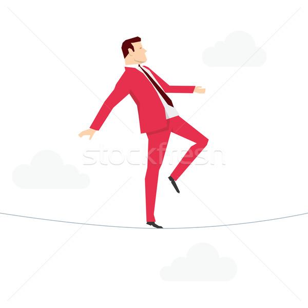 Stok fotoğraf: Kırmızı · takım · elbise · işadamı · yürüyüş · halat · iş