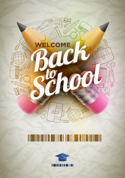 üdvözlet vissza az iskolába poszter magas részletes vektor Stock fotó © sgursozlu