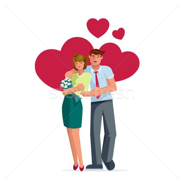 Walentynki para stanowią szczęśliwy stałego strony Zdjęcia stock © sgursozlu