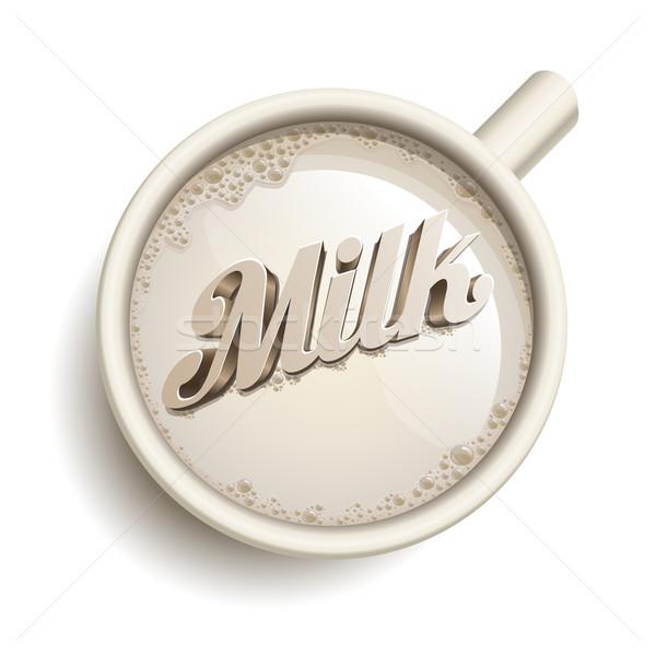 Csésze tej vektor valósághű szöveg összes Stock fotó © sgursozlu
