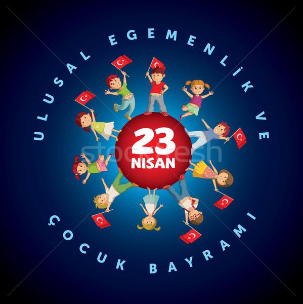 турецкий день дизайн шаблона праздник девушки детей Сток-фото © sgursozlu