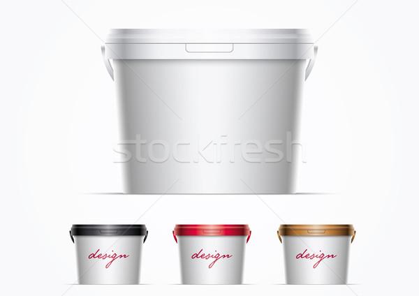 Foto stock: Plástico · balde · de · tinta · vetor · balde · ilustração · para · cima