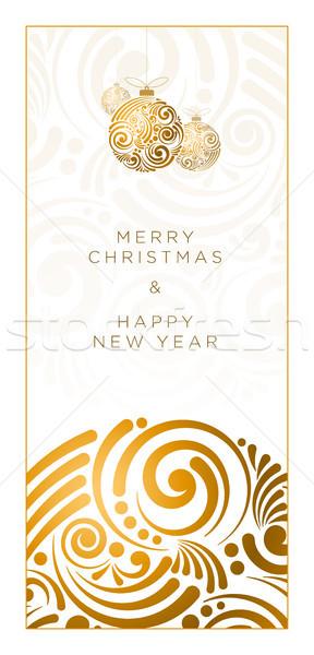 Abstract christmas ontwerp vector wenskaart swirl Stockfoto © sgursozlu
