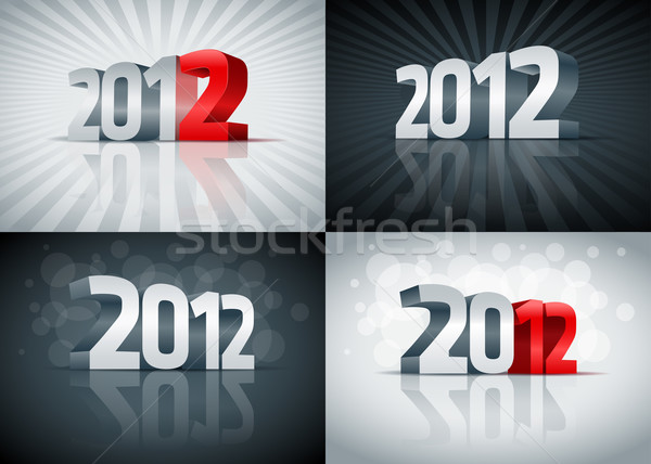 2012 happy new year carte tous Photo stock © sgursozlu