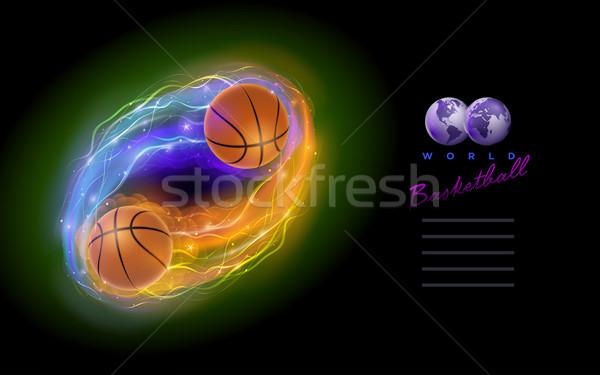 Basketbol kuyrukluyıldız top Alevler ışıklar siyah Stok fotoğraf © sgursozlu