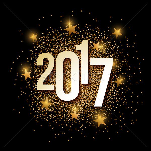 Année or glitter bannière nouvelle année or Photo stock © sgursozlu