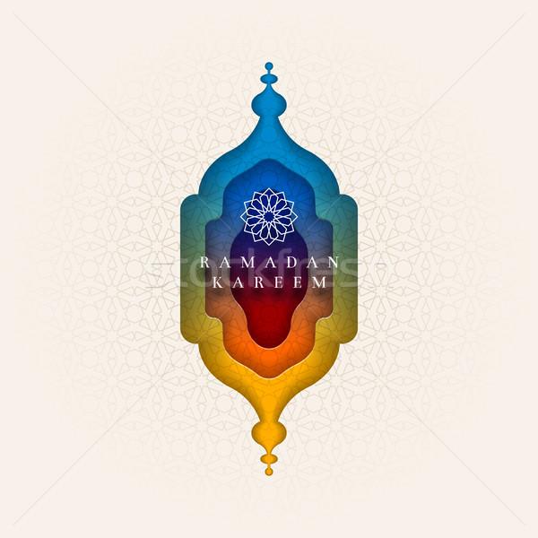 Wenskaart ontwerp ramadan papier kunst Stockfoto © sgursozlu