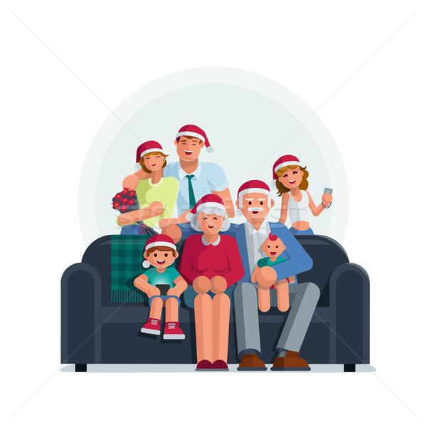 все семьи вместе Рождества бабушки деда Сток-фото © sgursozlu