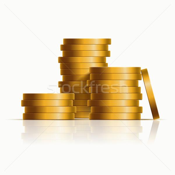 Stock fotó: Egymásra · pakolva · érmék · vektor · arany · üzlet · terv