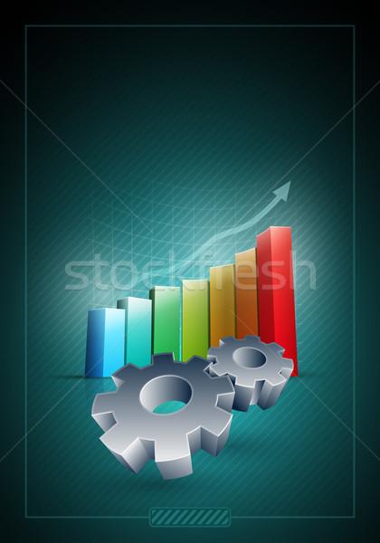 Werken versnellingen kleurrijk staafdiagram vector communie Stockfoto © sgursozlu