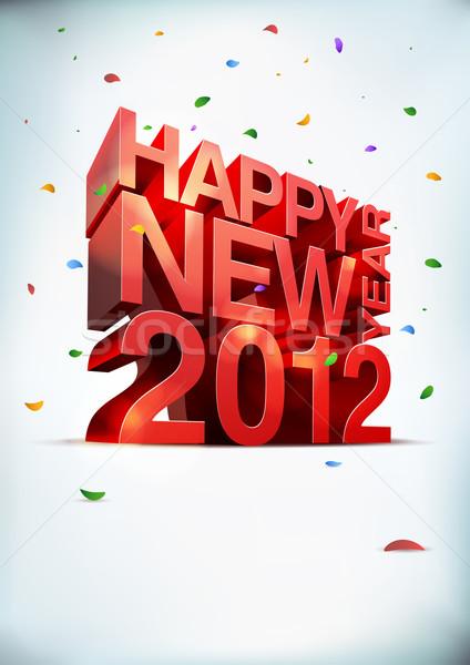 明けましておめでとうございます 2012 3D ベクトル 要素 レイヤード ストックフォト © sgursozlu