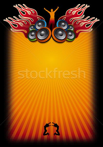 Música cartaz modelo alto-falantes chamas dança Foto stock © sgursozlu