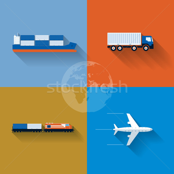 Transportation Concept Icon Set Stock photo © sgursozlu