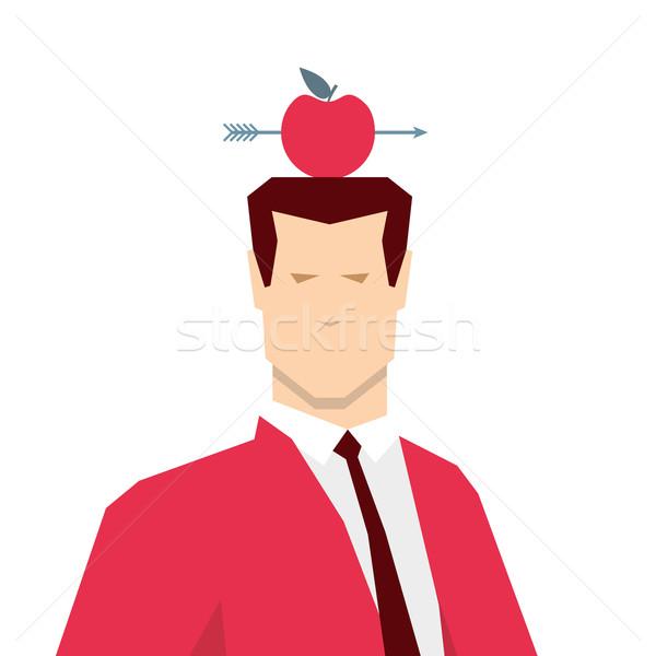 Stok fotoğraf: Kırmızı · takım · elbise · işadamı · elma · hedef · adam