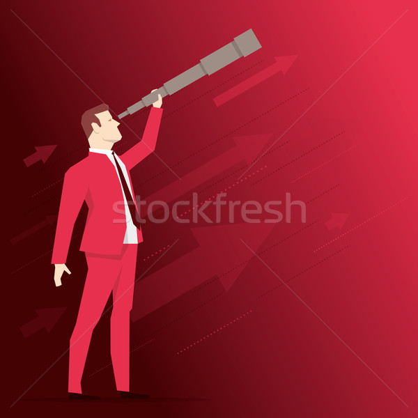 Zakenman telescoop Rood vector business Stockfoto © sgursozlu