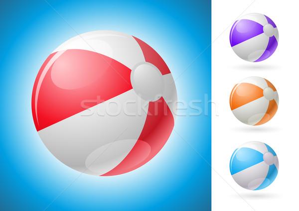 Bola de praia conjunto vetor ilustração fundo vermelho Foto stock © sgursozlu