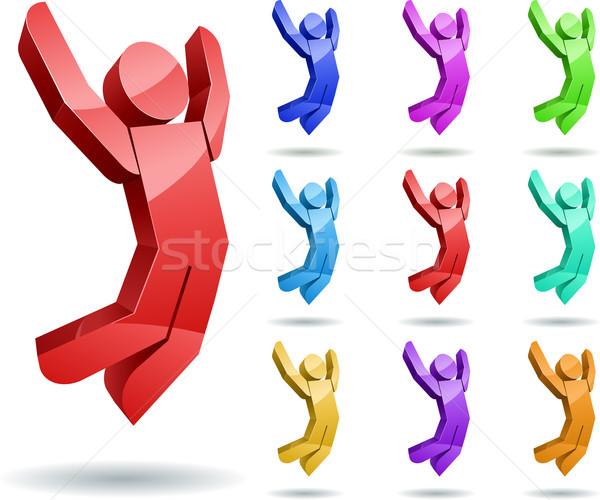 3D vetor saltando homem negócio Foto stock © sgursozlu
