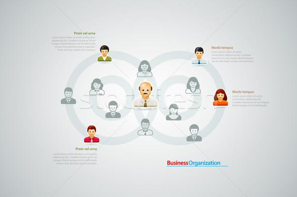 Organización tabla empresarial gente de negocios iconos negocios Foto stock © sgursozlu