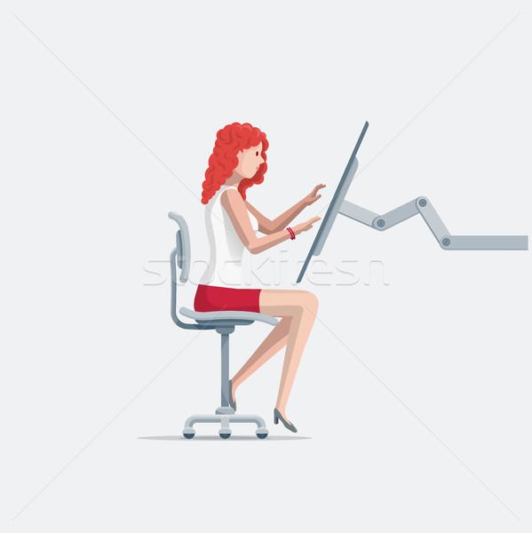 Jeune femme travail écran tactile ordinateur belle fille séance Photo stock © sgursozlu