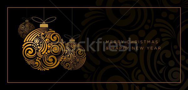Abstrato natal projeto vetor cartão redemoinho Foto stock © sgursozlu