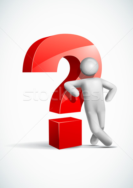 3d vector man leaning question mark symbol. Stock photo © sgursozlu