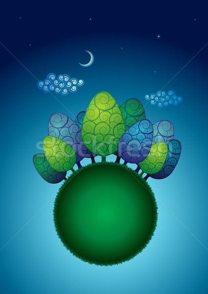 árvores verde globo noite elementos Foto stock © sgursozlu