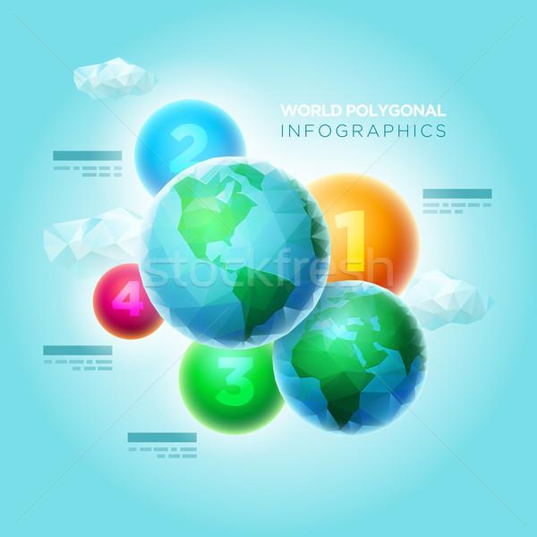 Stock fotó: Világ · infografika · vektor · poligon · gömbök · színes