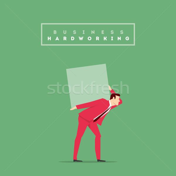 Stok fotoğraf: Kırmızı · takım · elbise · işadamı · poz · iş · çalışmak