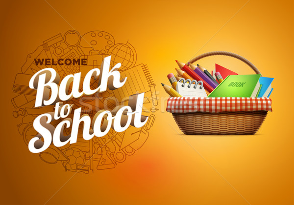 Снова в школу плакат школьные принадлежности корзины плетеный подробный Сток-фото © sgursozlu