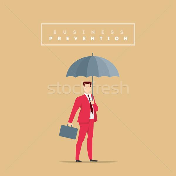 Vermelho terno empresário pose negócio tempestade Foto stock © sgursozlu