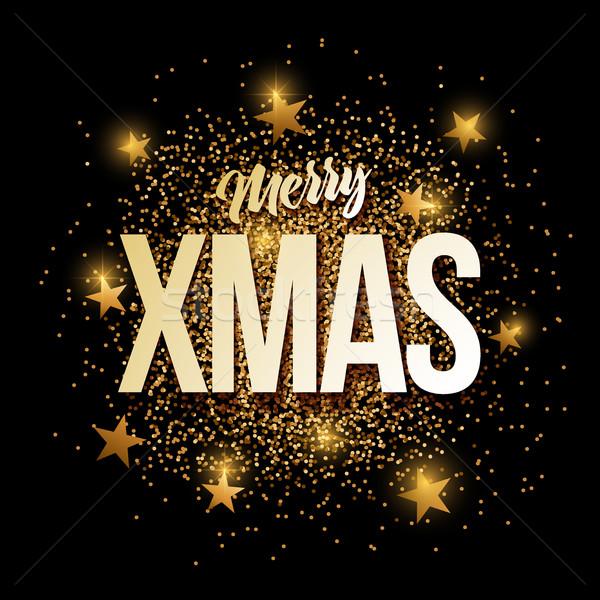 Merry Xmas golden glitter background banner. Stock photo © sgursozlu