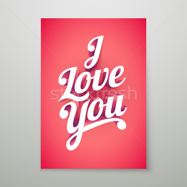 i love you 3d hand lettering typography poster vector illustration