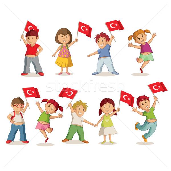 孩子 標誌 土耳其 旗 女孩 孩子 商業照片 © sgursozlu