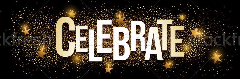 Celebrate golden glitter background banner. Stock photo © sgursozlu