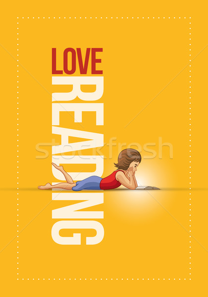 Girl lying down and reading book poster design. Stock photo © sgursozlu