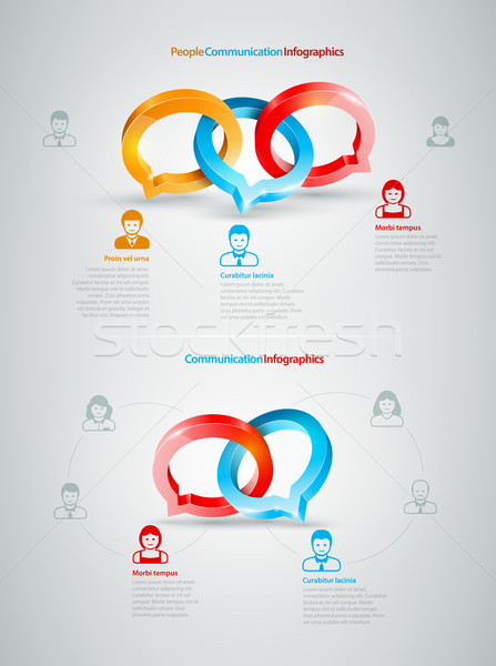 разговор Инфографика вектора речи кольцами деловые люди Сток-фото © sgursozlu