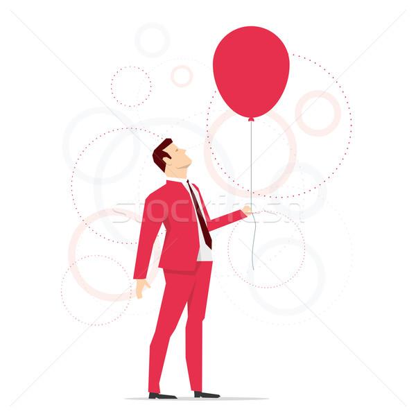 Stok fotoğraf: Kırmızı · takım · elbise · işadamı · balon · iş