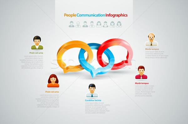 Conversa infográficos vetor discurso anéis pessoas de negócios Foto stock © sgursozlu
