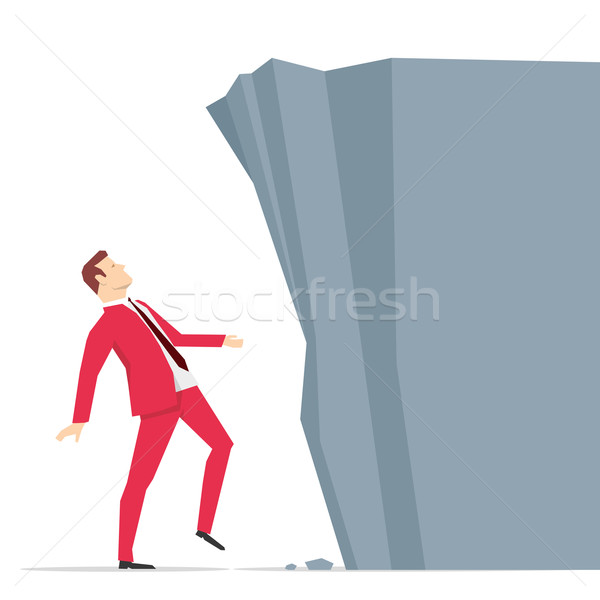Red suit businessman and barrier Stock photo © sgursozlu