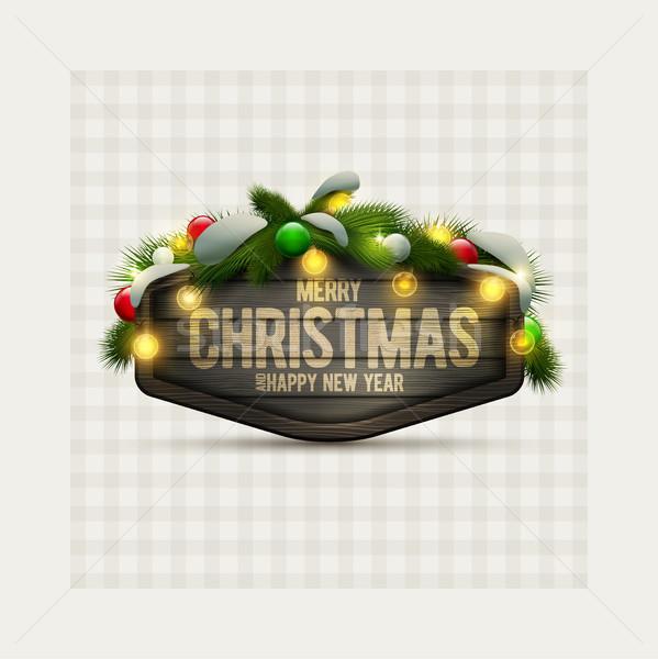 Christmas Signboard with light bulbs Stock photo © sgursozlu