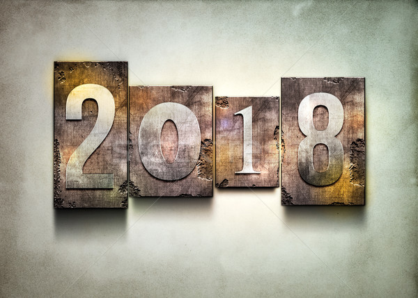 Year 2018 letterpress. Stock photo © sgursozlu