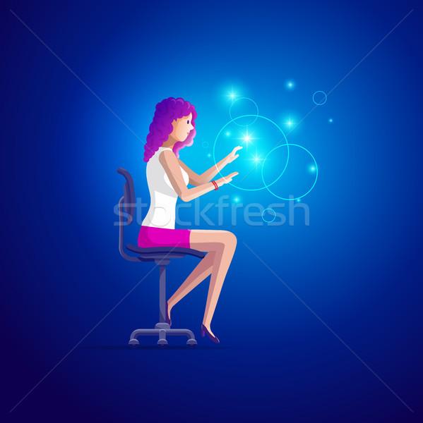 Fiatal nő dolgozik hologram csinos gyönyörű lány ül Stock fotó © sgursozlu