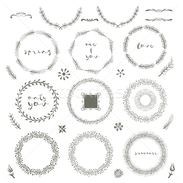 Collection of hand drawn design elements Stock photo © sgursozlu