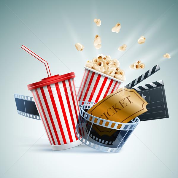 Сток-фото: кино · иллюстрация · попкорн · окна · одноразовый · Кубок