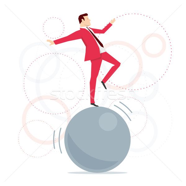 Red suit businessman acrobat Stock photo © sgursozlu