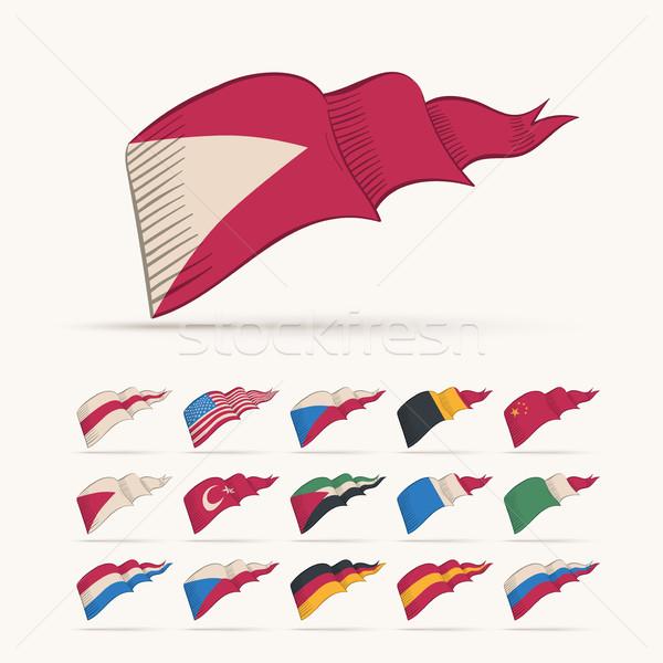 Zdjęcia stock: Trójkąt · banderą · kolekcja · różny · wektora · zestaw