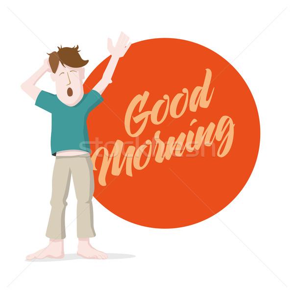 Goedemorgen man ochtend bericht gezicht Stockfoto © sgursozlu